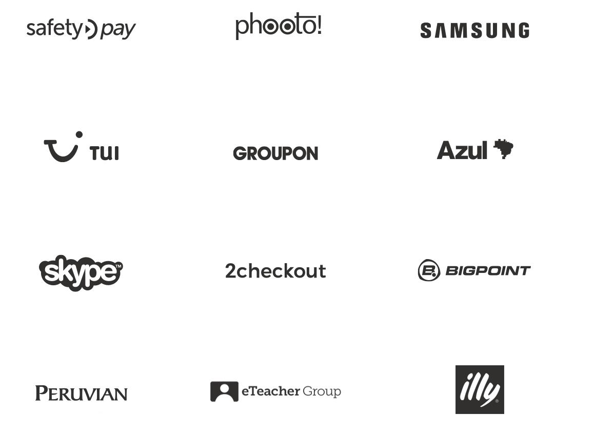 SafetyPay, Phooto, Samsung, Tui, Groupon, Azul, Skype, 2checkout, Bigpoint, Peruvian, eTeacher Group, Illy